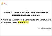 VENCIMENTO DAS MENSALIDADES 2018 – 5º DIA ÚTIL