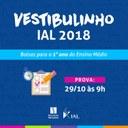 IAL recebe inscrições para o Vestibulinho - Concurso de Bolsas de Estudos para 2018